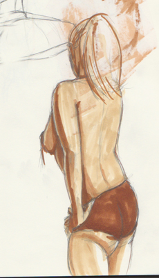 Copics after the fact. I think this was my favorite sketch of the night. 5min pose i think.