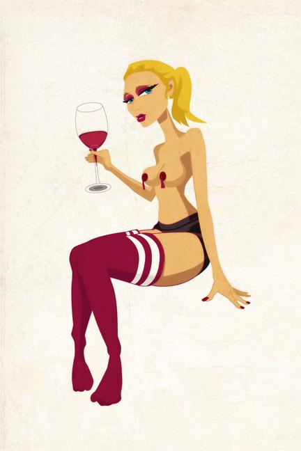 Lena Grove with wine