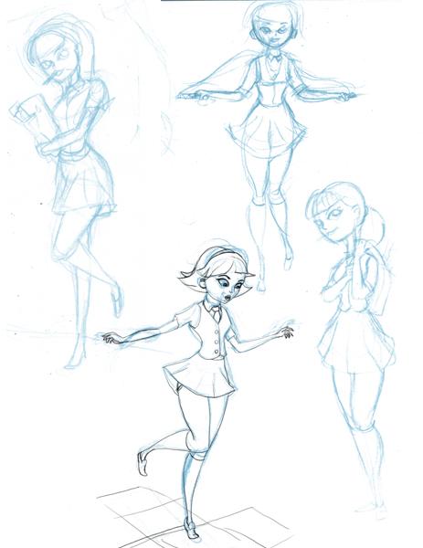 school girl sketches